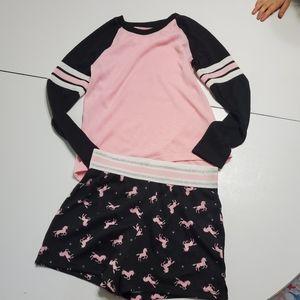 Wonder Nation 7/8 long-sleeve & shorts unicorn set